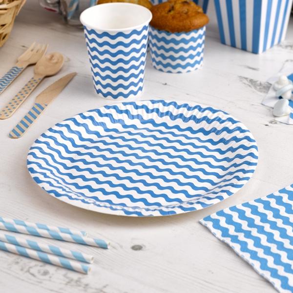 Teller mit blauen Wellen, 8 Stück, 23cm