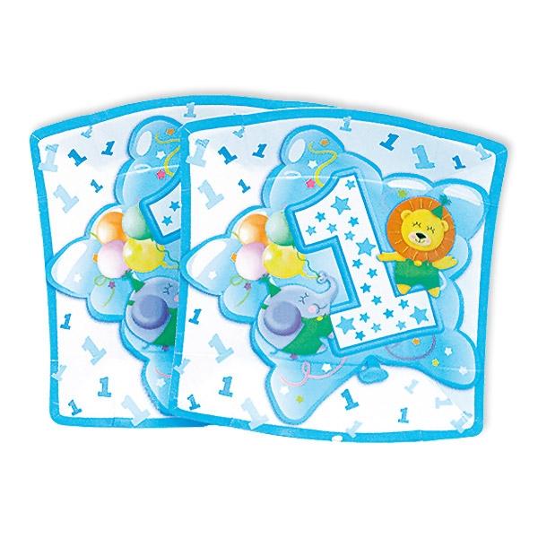 Kleine Partyteller, 1. Geburtstag Junge, 10 Stück, 19 cm
