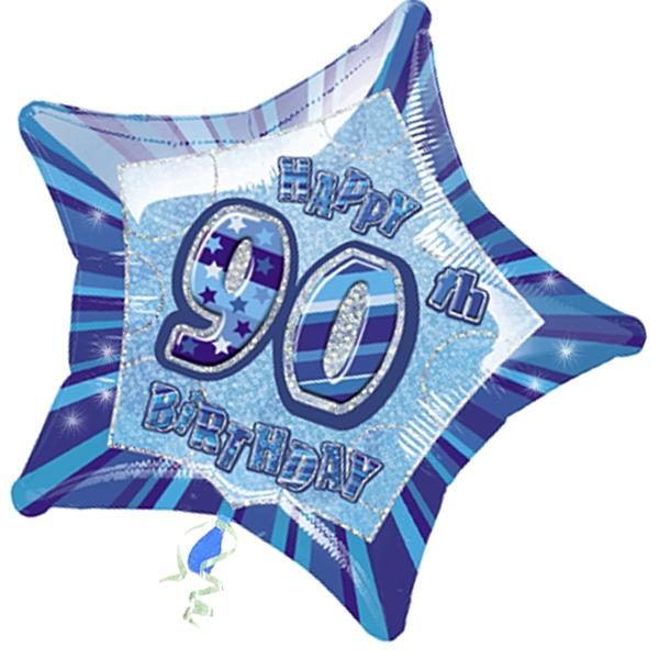 Folienballon sternförmig +Zahl 90, blau, 45cm, für Helium