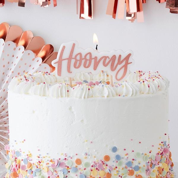 """""""Hooray"""" Geburtstagskerze mit Spieß zum Befestigen, 1 Stück, Wachs"""