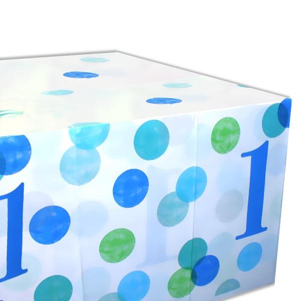 BLUE DOTS Tischdecke zum 1. Geburtstag, Folie, 137cm x 213cm