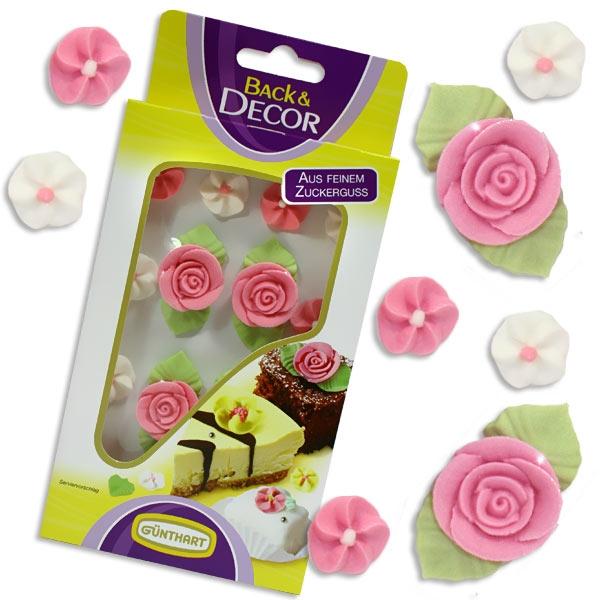 Zucker-Rosen, ROSA, 4er-Set + 12 kleine Zuckerblüten in rosa und weiß, Torten Deko
