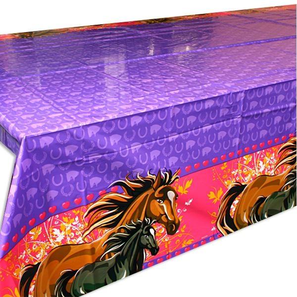 Pferde-Tischdecke Folie, 1,3×1,8m, traumhaft schöne Folientischdecke