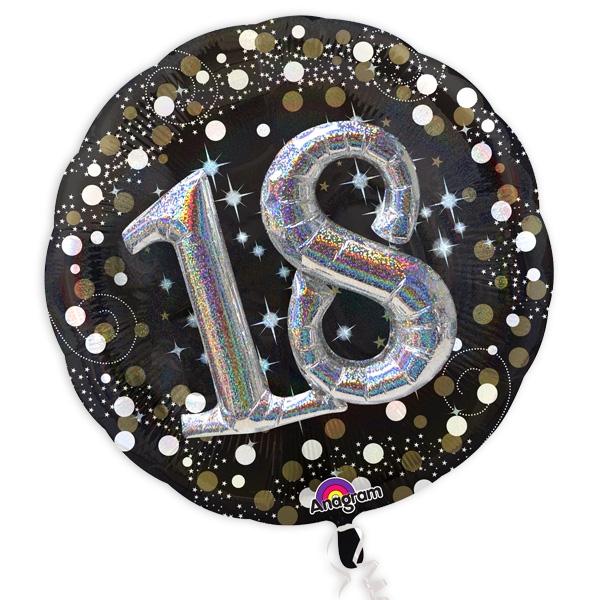 XXL Glitzer-Folieballon Set mit 3D Effekt zum 18. Geburtstag