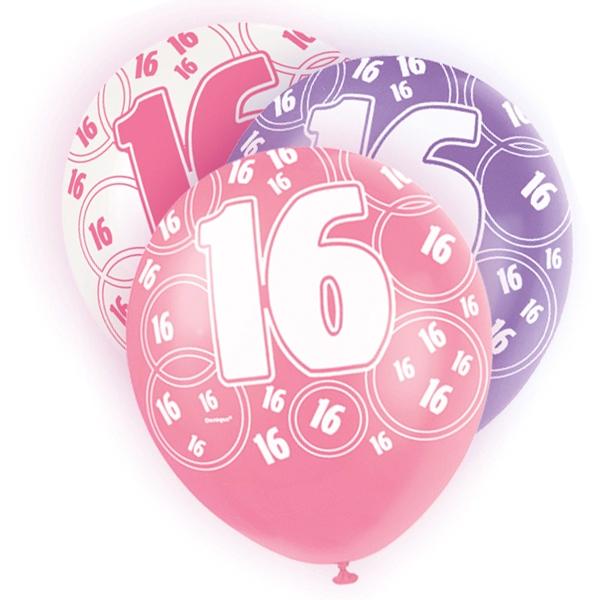 Ballons mit Zahl 16, lila/pink/weiß, 30cm, 6 Stück