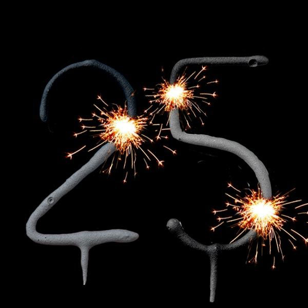Wunderkerzen Set Zahl 25, Kuchen-Deko 25. Geburtstag / Silberhochzeit