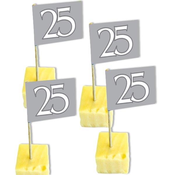 Dekopicker Fähnchen mit 25, silbern, 50 Stück für Birthday