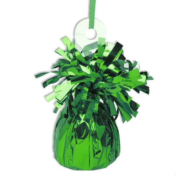 Ballongewicht grün Metallic 13cm mit hübschen Fransen, glänzende Folie