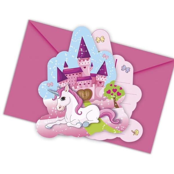 Partyeinladungen Süßes Einhorn, echt märchenhaft, 6er Pack +Umschläge
