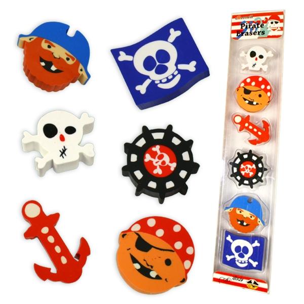 Piraten Radierer als Giveaway zur Piratenparty Kinder, 6 Radiergummis