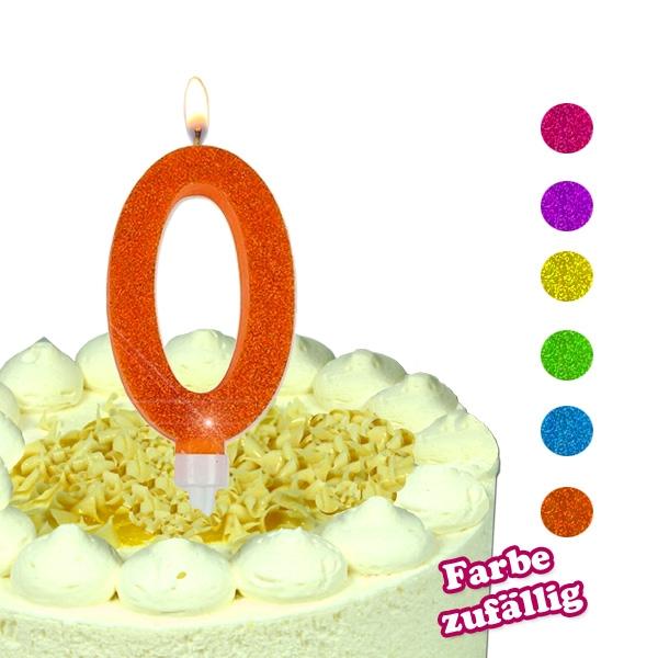 Zahlenkerze 0, große Glitzerkerze für runde Geburtstage, 1 Stück, Wachs