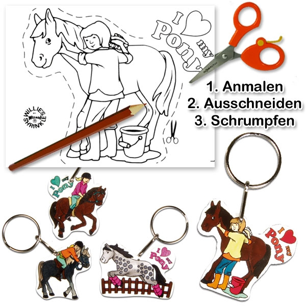 Schrumpffolien-Set My Pony 8tlg. für 4 tolle Schlüsselanhänger mit Ponys