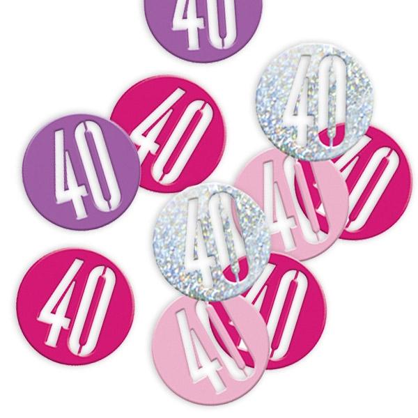 Happy Birthday - Glitzerkonfetti, Zahl 40, pink-silbern