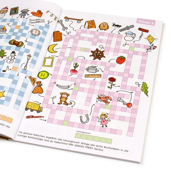 Kreuzworträtselbuch für Schulkinder mit 48 Seiten inklusive Lösungen