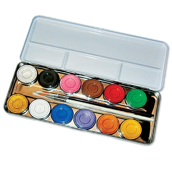 12 Schminkfarben- Schmink Palette im Metalletui, nachfüllbare Schminkbox , inklusive Profi-Pinsel