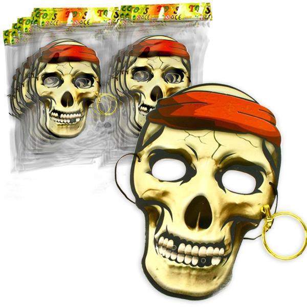 Großpack Piratenmasken für Kinder, 48 Pappmasken mit Ohrring & Gummi