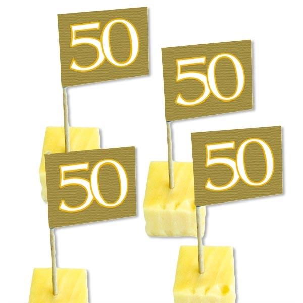 Dekopicker Fähnchen mit 50, golden, 50er Pack für Fooddeko