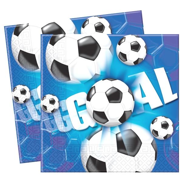 """Fußballservietten 20 Stück, 33 cm, Aufdruck """"Goal"""", für Fußballpartys"""
