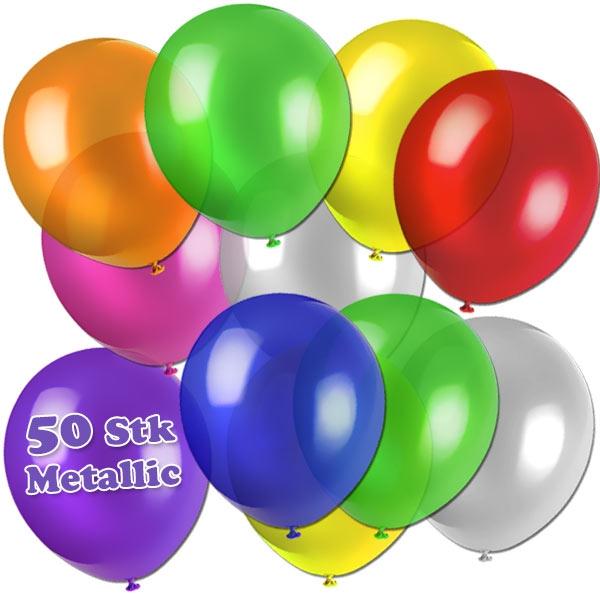 Bunte Luftballonsmischung, 50 Metallic Ballons, 27,5cm