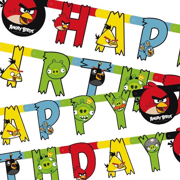 Angry Birds Buchstabenkette mit Happy Birthday Glückwunsch, 1,8 m