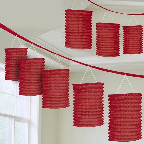 Lampion-Girlande mit 8 roten Mini Lampions am roten Band, hübsch,3,65m