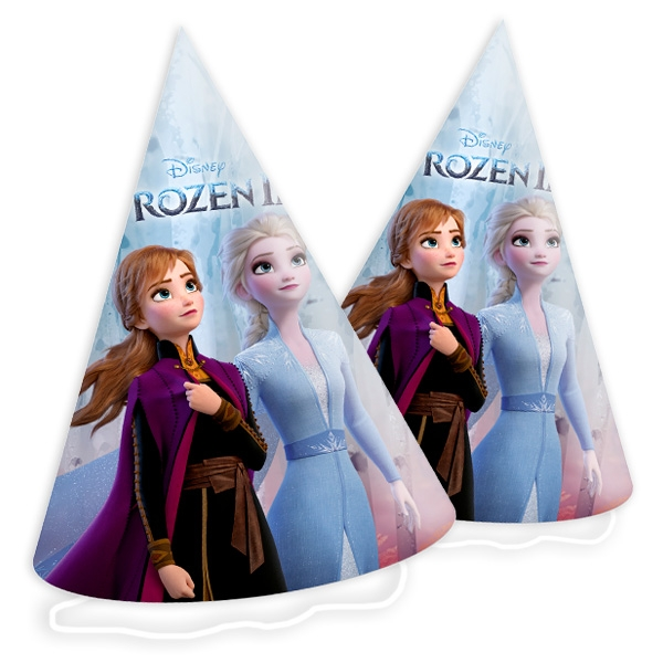 Frozen 2 - Partyhütchen, 6 Stk, mit Bändchen