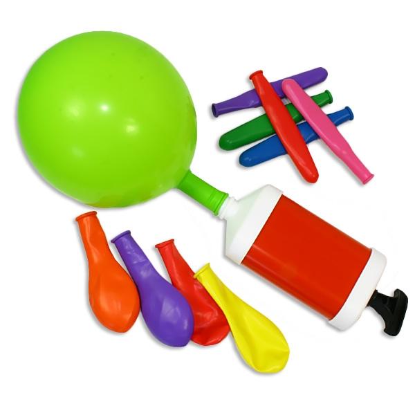 Ballonpumpe plus 10 bunte Luftballons, Partyset, 17,5cm x 6,5cm