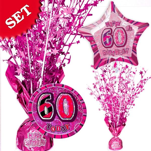 Partyset zum 60. Geburtstag - pink
