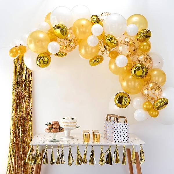 Ballongirlande mit 70 Ballons in weiß & gold