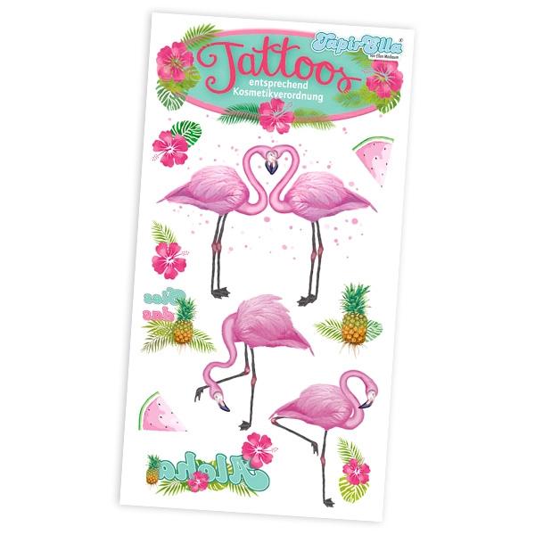 Flamingo Tattoos, tolle Kindertattoos auf 1 Tattoo-Karte 5,6x10,5 cm