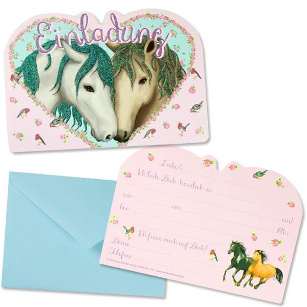 Pferde Einladungen mit Umschlägen, 8x Kindergeburtstag Einladungen