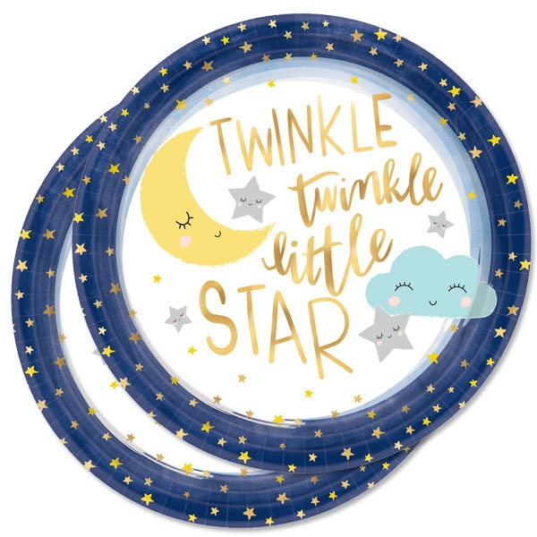 Twinkle - Little Star, 8 Teller, Ø 27cm, Babyparty