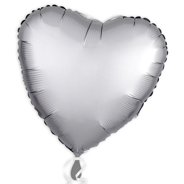 Folienballon als Herz Platin-Silber 34 cm