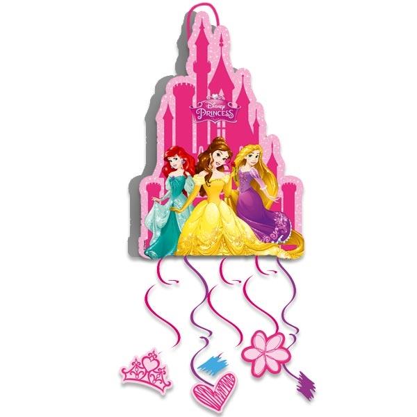 Disney Princess Zugpinata mit 6 Bändern, 21cm x 28cm, Prinzessin Pullpinata