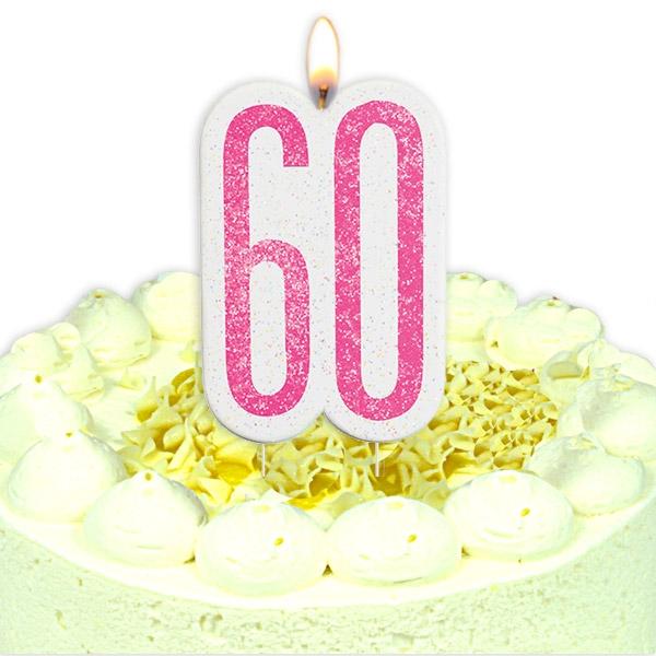 Geburtstagskerze Zahl 60, in schimmerndem Pink