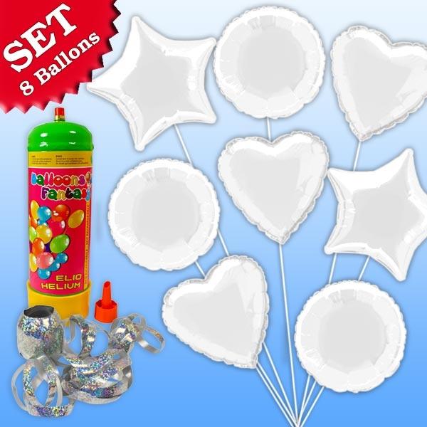 Helium Ballongas Set Weiß, 10tlg