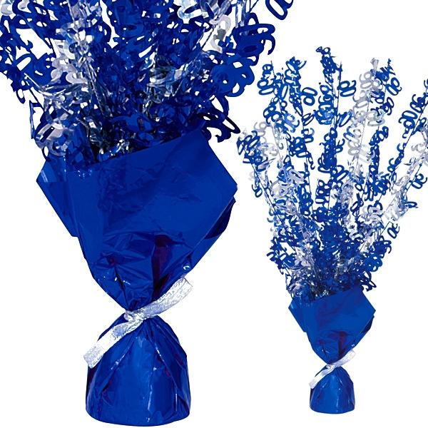 Folien-Tischdeko, Zahlen-Strauch, Zahl 90, knallig Blau