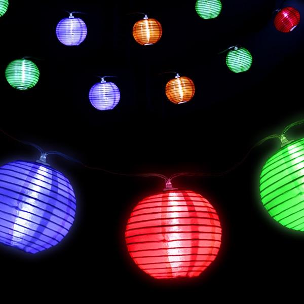 Stimmungsvolle Lichterkette mit 10 Laternen mit LED, 2,4m