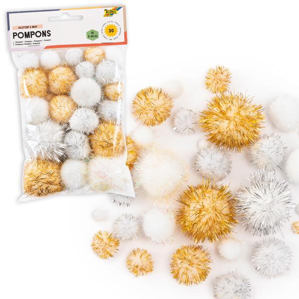 Glitzer-Pompons, Weihnachten, 30 Stück
