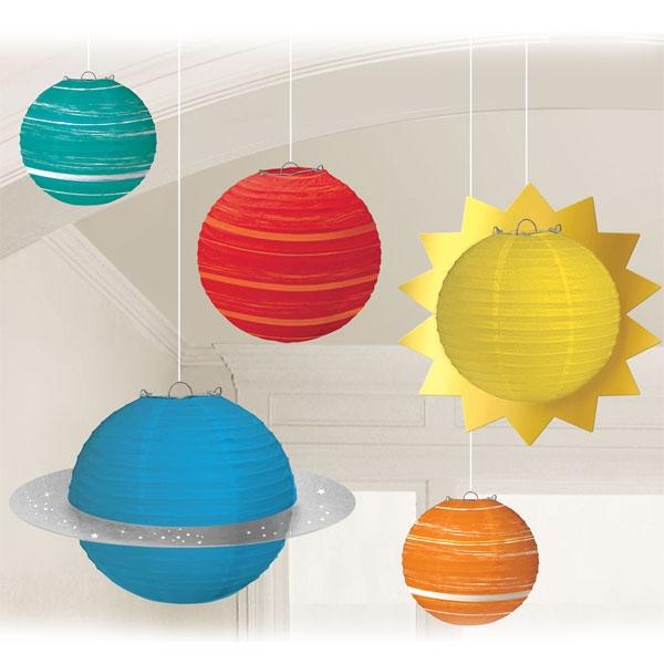 Weltall Lampion Set, 5tlg, Planeten Deko, bis 41,9cm