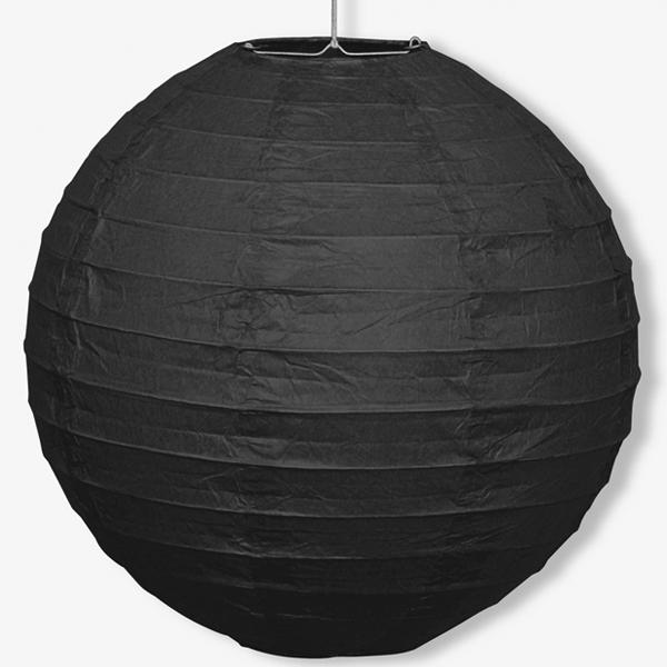 Papier Lampion schwarz, 25cm, mit Schnur und Metallbügel, 1 Stück