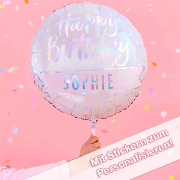 Happy Birthday Folienballon, personalisierbar, inkl. Sticker, Ø 60cm