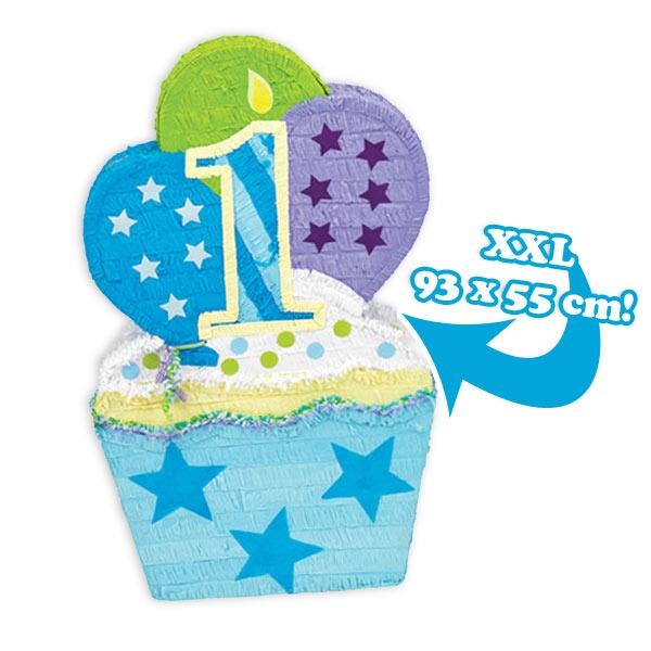 XXL Cupcake Pinata 1. Geburtstag Junge, große Piniata als Muffin