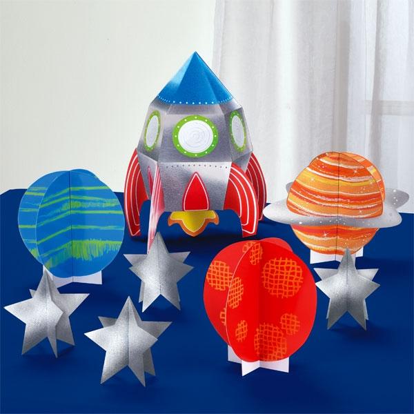 Weltall Tischdeko-Set, 8 Teile, Partydeko Astronaut, bis 29,2cm