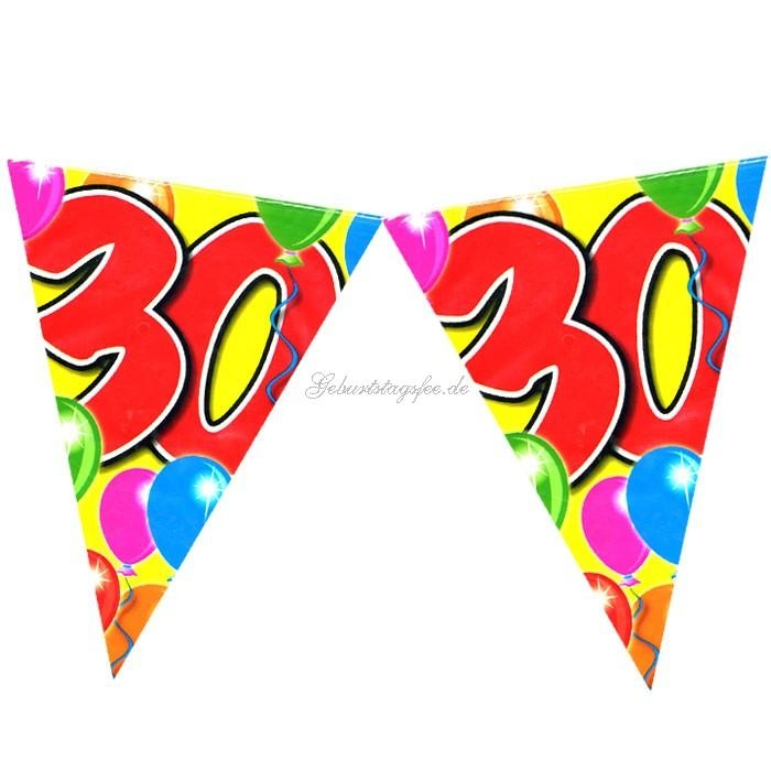 Wimpelkette 30.Geburtstag, 10m, Wimpel aus PVC Folie