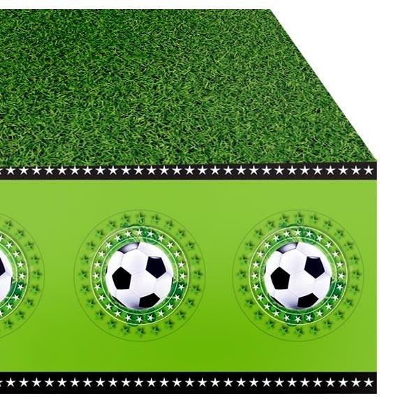 Fußball Partytischdecke als grüner Rasen mit Bällen am Rand, 1,3×1,8m