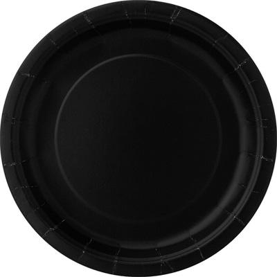 Teller einfarbig in Schwarz, 8 Pappteller für Ihre Party, 23cm
