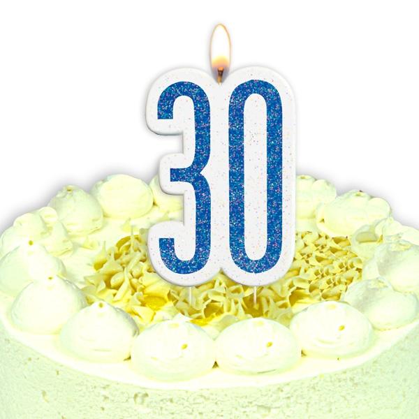 Geburtstagskerze Zahl 30, in schimmerndem Blau für Männer