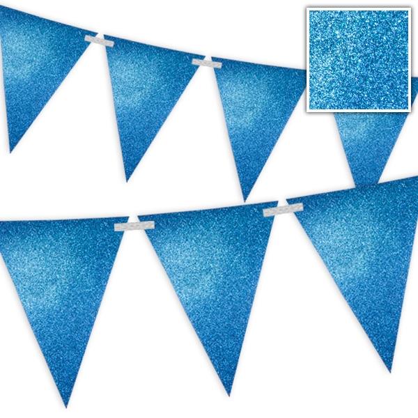Wimpelkette Blau mit Glitzer - 6 Meter 1 Stk
