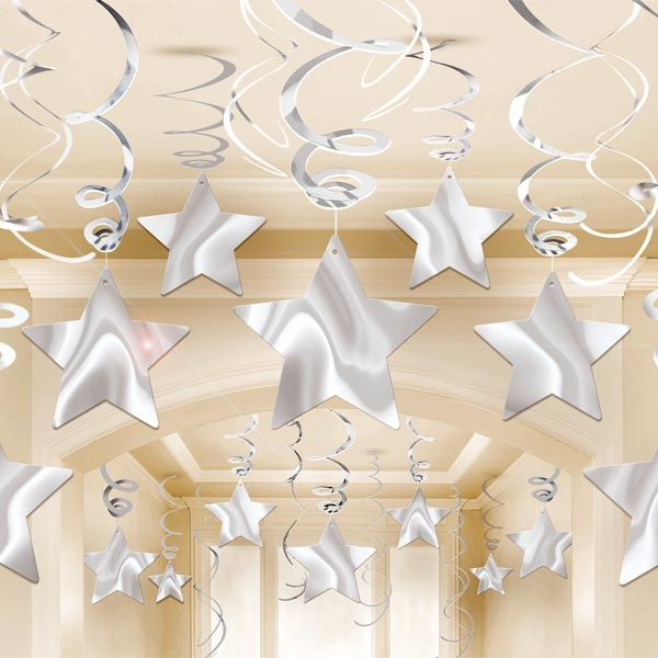 Dekospiralen in Silber, 30 Stück, mit und ohne Stern, metallisch glänzend, 40cm und 60cm, lang